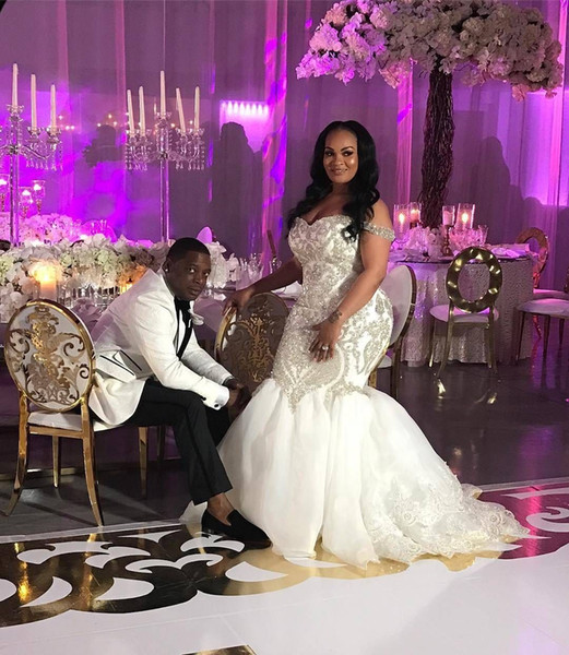 Vintage African Nigeria Mermaid Wedding Dresses Off The Shoulder Bling Beaded Plus Size Wedding Gowns Zipper Back Fishtail Garden Bride Gown