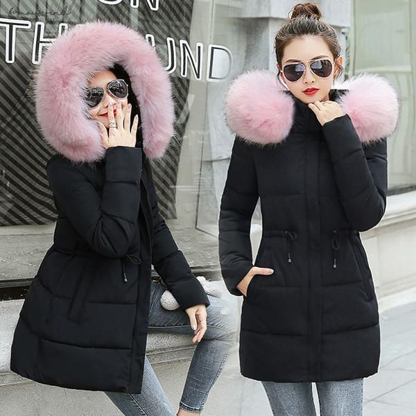 Chaqueta de las mujeres del invierno 2019 Nueva larga para las mujeres invierno por la chaqueta abrigo de invierno cálido Mujeres Delgado Outwear falso Fox Parkas