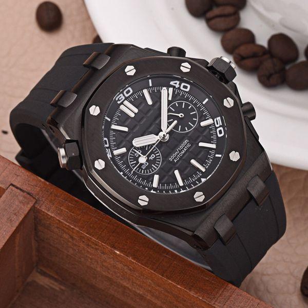 1: 1 montre de luxe mens importé quartz mouvement électronique verre minéral miroir 316 boîtier en acier diamètre 46mm 14mm bracelet en caoutchouc noir A37