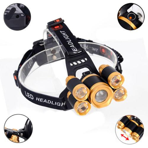 Free DHL 5*LED T6 LED Headlight Headlamp USB Rechargeable 8000LM 4 modes Zoomable Camping Head Light Torch for Outdoor Camping Hunting