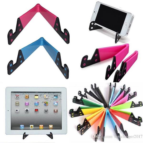 Aperto do telefone Mini Suporte Do Telefone Dobrável V Forma Design Stand para telefone Celular Tablet PC ipad Pequenos Suportes Bracket Colorido Barato