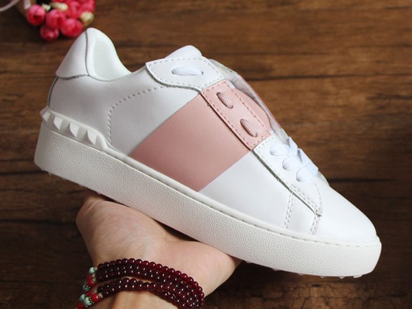 Open Designer Shoes With Fire Top Quality White Men Italian Real Leather Designer Sneaker Best Stripe Casual Shoes for Women