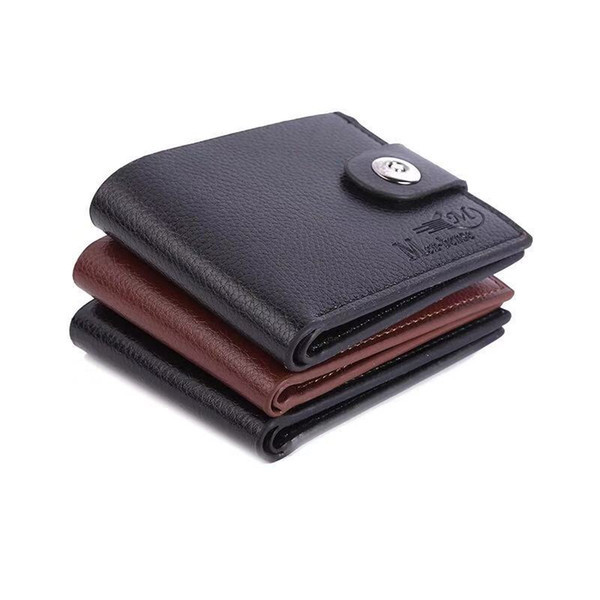 Fashion Men's Wallet Mini Multifunctional Short holders Wallet PU Anti-magnetic Buckle Coin Purse Leather Card Case