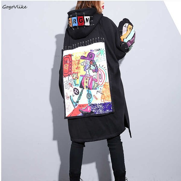 Autumn Winter Female Thicken Keep Warm Hooded Trench Coat Women New Letter Cartoon Pattern Patch Designs Punk Rock LT828S50