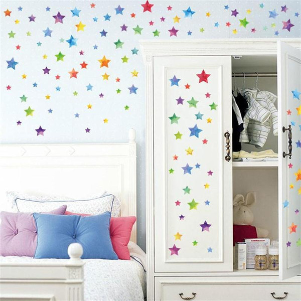 67pcs/set Cartoon Stars Wall Sticker For Kids Room Home Decor Little Star Wall Decal Baby Nursery DIY Removable Art Mural Poster