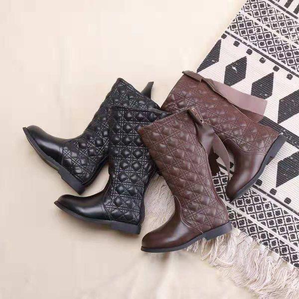 Compre Bota Para Niña Niña Colores Marrones Negro Botas Clásicas De Invierno Botas De Nieve Cálidas UE 26 37 Diseño Sólido Cuero Genuino Vamp A $35.54