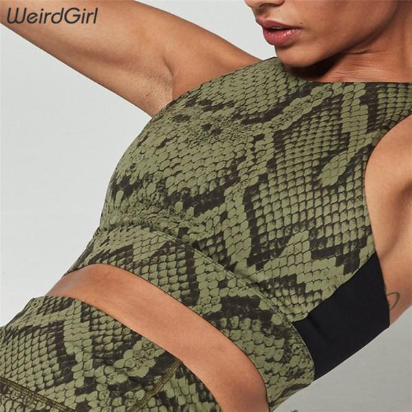 Sportswear Femme Fitness Motif Serpent 2 Pieces Set Stracksuit Imprimer Casual Sans Manches Gym Vêtements Slim Mince