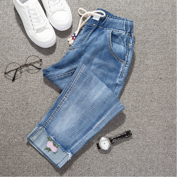Fashion Large size women's summer loose jeans cropped pants plus fertilizer to increase embroidered Harlan pants 032#