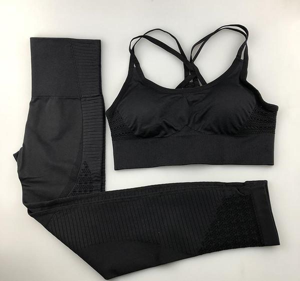 Senza soluzione di continuità Set Yoga donne fitness abbigliamento sportivo palestra donna Leggings imbottito Push-up Strappy Reggiseno 2 tute sport dei pc Q190521