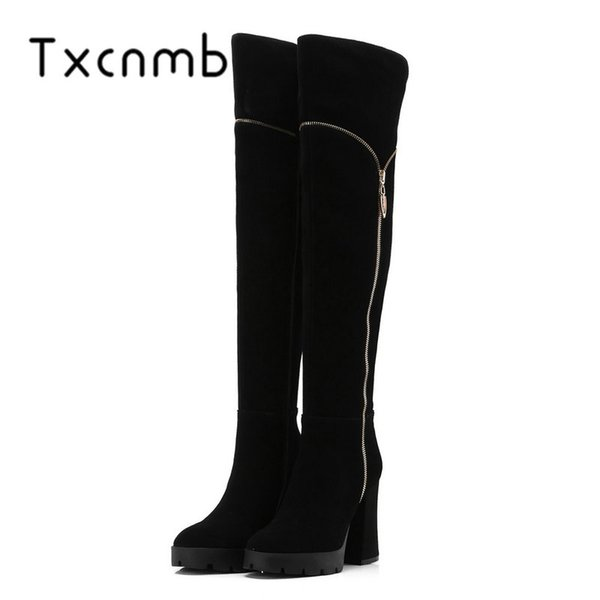 TXCNMB 2019 Nueva Vaca Suede Leather Square Tacones Altos Botas Mujeres Rodilla Botas Altas Occidentales Zapatos de Fiesta Con Cremallera Mujer Negro