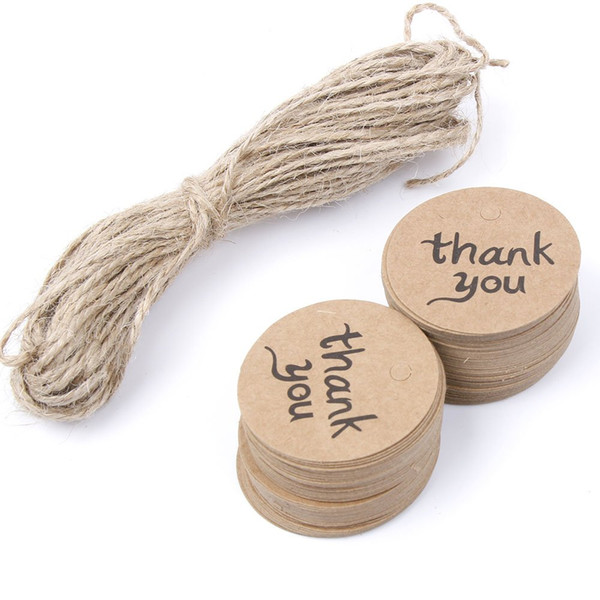 100PCS Thank You Wedding Brown Kraft Paper Tag gifts papers Favor Gift Tags With Jute Twines