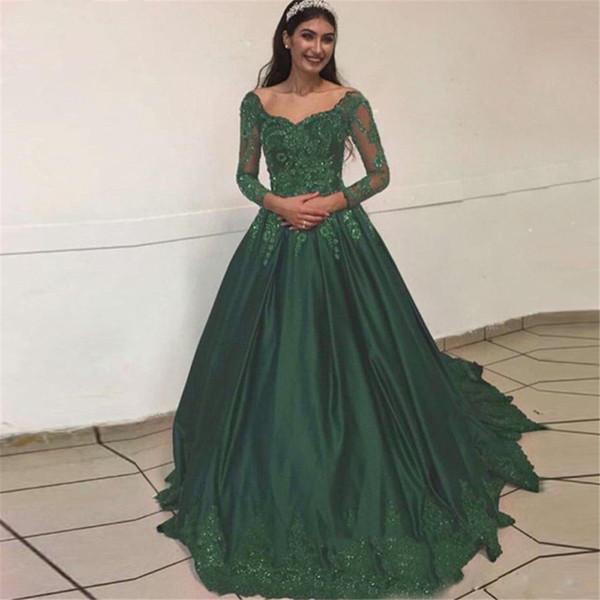 Abiti da ballo verde scuro 2019 fuori dalla spalla abito da sera abito da sera pavimento lunghezza abito quincenara per ragazza 18