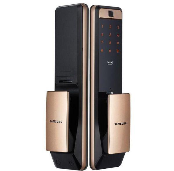 best selling SAMSUNG SHP-DP609 Keyless Fingerprint PUSH PULL Two Way Digital Door Lock English Version Big Mortise Gold Color