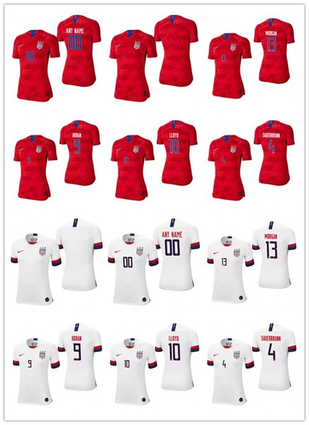 EUA das mulheres em branco 4 becky sauerbrunn 10 carli lloyd 13 alex morgan 11 ali krieger branco vermelho 2019 campeão mundial de futebol personalizado jersey