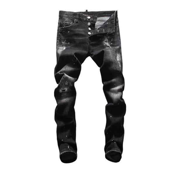 European American jeans casual famous brand jeans Men Slim denim trousers button black hole Pencil Pants brand for men