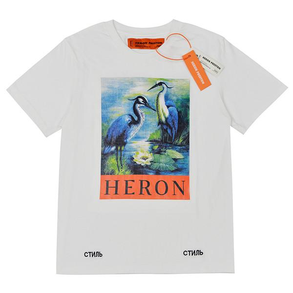 Heron Preston Mens Designer T-shirts Hommes Femmes Street Luxe Coton Designer Shirt, Casual Crane Imprimer À Manches Courtes T Shirt