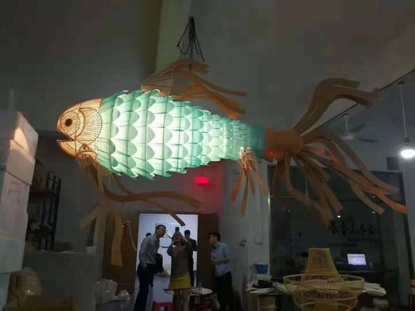 Ahşap balık droplight Balık şeklindeki yemek odası avize Balık şeklindeki aydınlatma