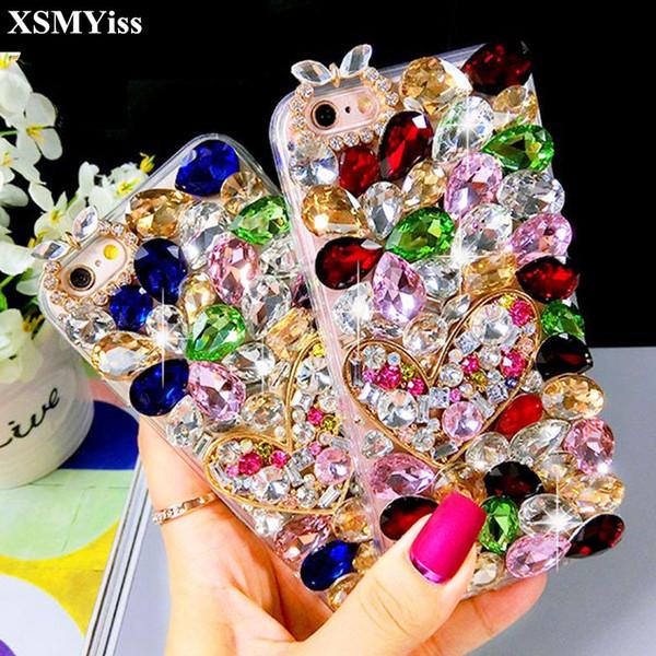 Para huawei honor 8 lite pro 9 v10 7x y7 prime nova mais 2 s cristal de diamante colorido coração strass phone case softback