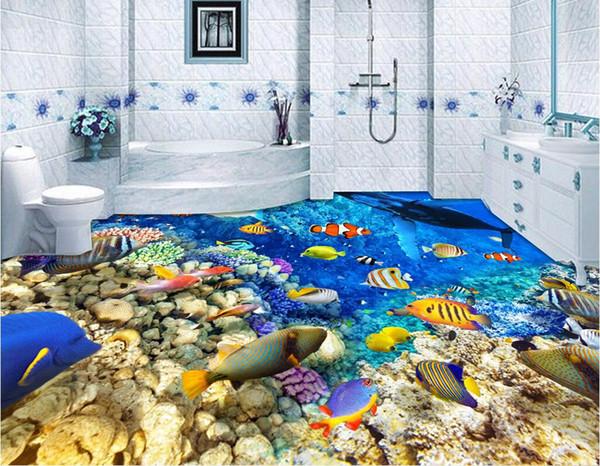 Großhandel 3d Boden Individuelles Foto Wasserdicht PVC Boden Wandaufkleber  Blauer Ozean Welt Fisch Schule Hauptdekor 3D Wandmalereien Tapeten Für ...