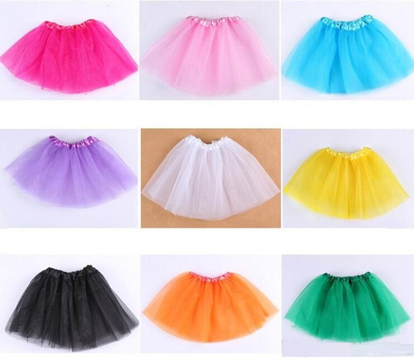 top popular Factory price! 1000pcs Candy color kids ballet skirt 3 layers ball gown Cake skirts tutu pettiskirt Net yarn sequins dancing tutu skirts 2021