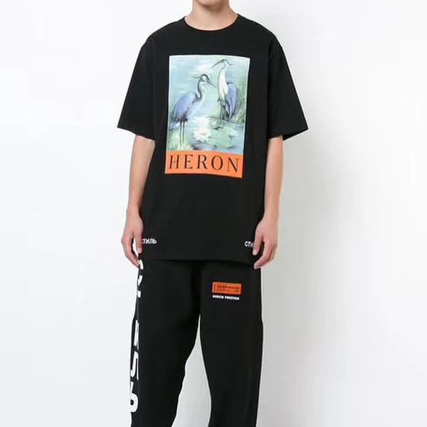 1: 1a Летней футболка Стиль Heron Preston Shirt Мужчины Женщина shitrts хлопок высокого качества Heron Preston Tee Hip Hop Streetwear Heron Престон T-Ши