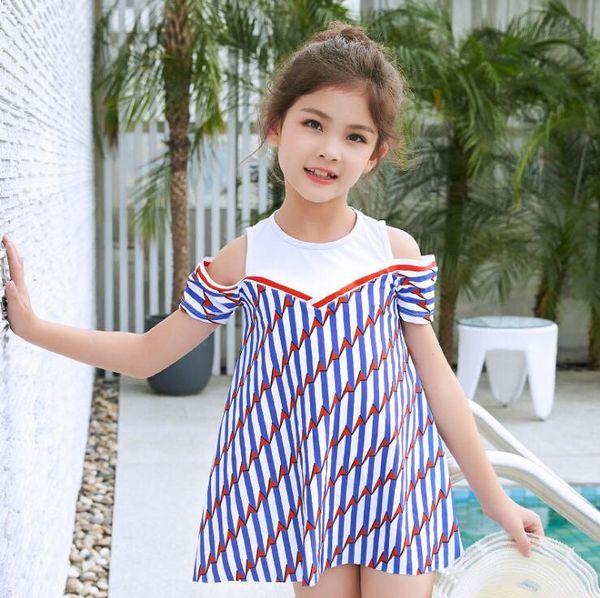 Kızlar Fırfır İki Adet Çizgili Mayo 2019 Yaz Çıkarılabilir Pad Kapalı Omuz Mayo Şort İki Adet Beachwear Mayo (5y-16y)