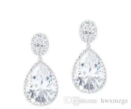10.00CT PEAR & OVAL HALO water DIAMOND EARRING SOLID 14K WHITE GOLD PARTY WEAR EARRING