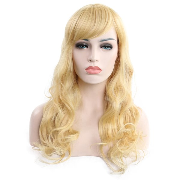 2019 new fashion ladies loose wave oblique bangs light gold long wig 100% high temperature fiber synthetic hair Silky lace elastic cap wig