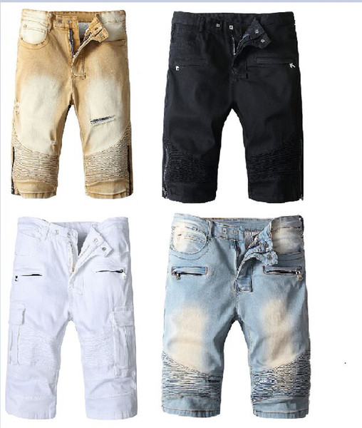 New france Bal main Mens Jean Shorts Designer Jeans for Men Famous Men Denim Biker ripped zipper Jeans 4 Styles Pants trouser