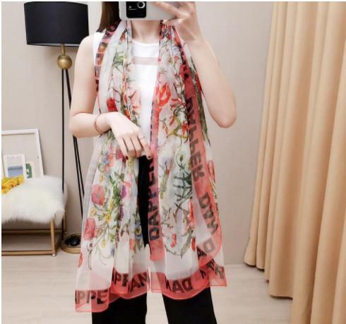 891fc033e7e Spring Silk Scarf 2019 Hot Women Letter Shawl Scarf Fashion Long ...