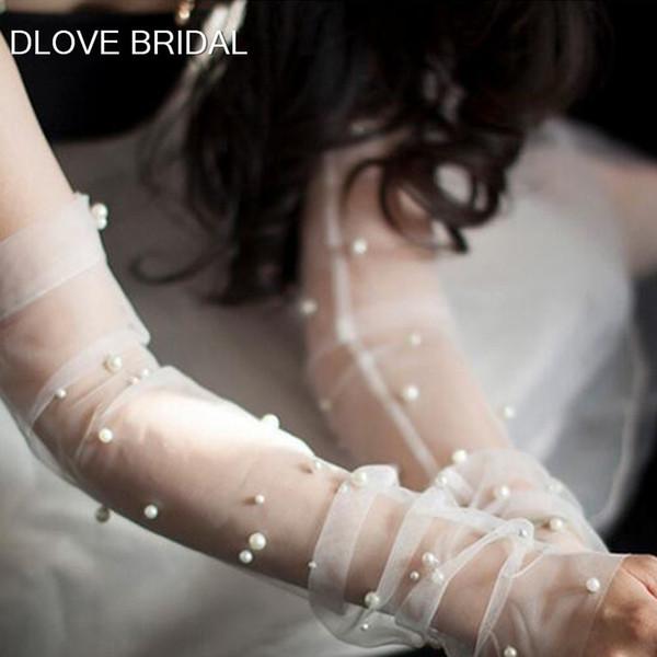 Los guantes nupciales del partido nueva perla de la llegada Sheer guantes de tul boda sin dedos Codo sesión fotográfica de accesorios