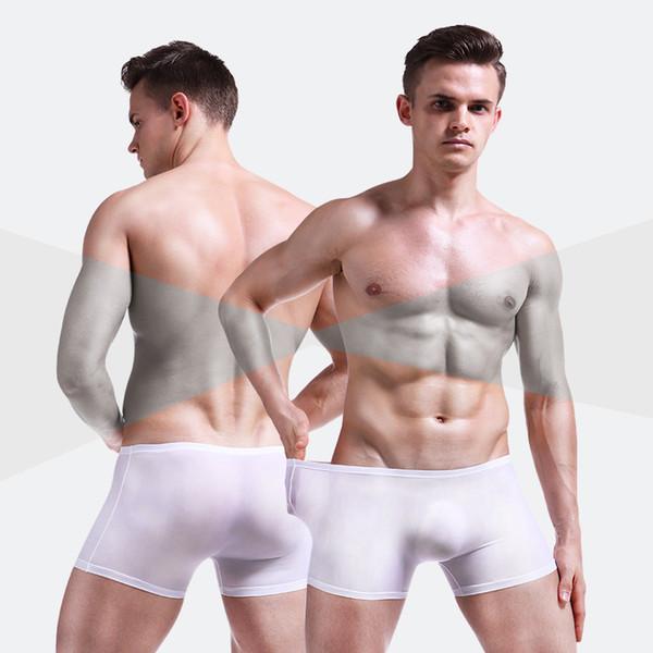 Fashion-Men Boxer Shorts Sexy Underwear Ice Silk Male Panties Plus size Cueca Masculina Hombre Slips men Penis Pouch 4Pcs\lot Boxers