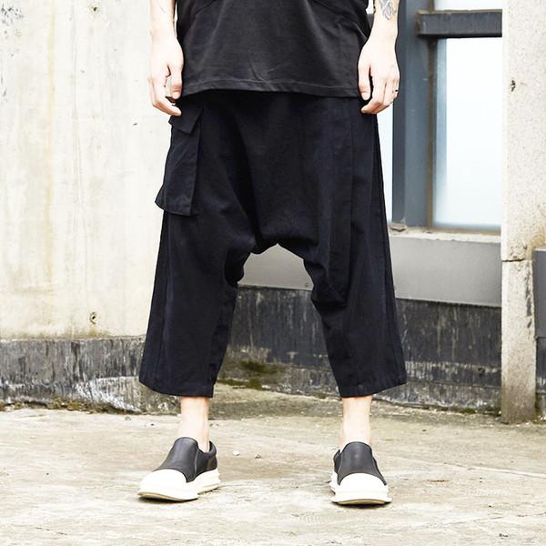 Männer Sommer Cottton Leinen Lose Beiläufige Schwarz Low Crotch Harem Cross Hosen Männliche Streetwear Hip Hop Punk Gothic Kimono Hosen