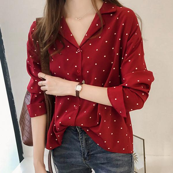 f3b3aca9b135 Tallas grandes 4XL Camiseta floja ocasional Mujeres Camiseta de oficina Manga  larga de lunares Negro Rojo
