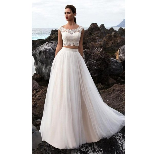 popular element Boho Wedding Dress 2 Pieces A Line Appliques Lace Tulle Skirt Custom Made Beach Bride Dress Wedding Gown Free Shipping