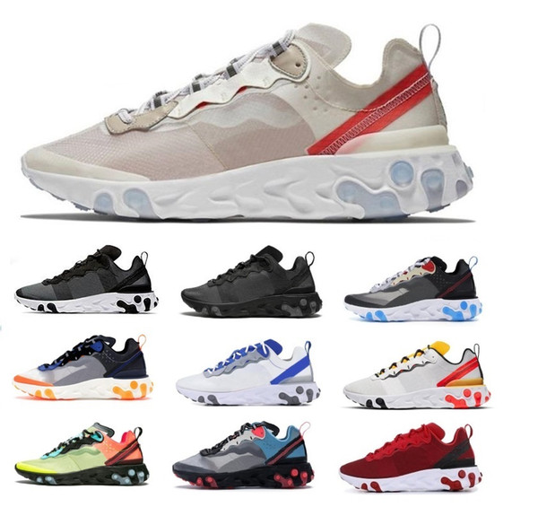 2020 87 55 éléments réagissent hommes chaussures hommes femmes design casual lumière solaire os triple équipe royal noir sneakers sports de us5.5-11