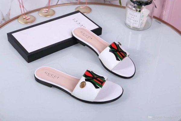 Brand new Summer women slippers slip on round toe flat slides sandals women white black leather slippers flip flops slippers