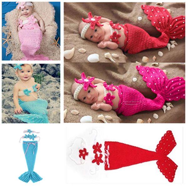 Newborn Costume Set photography props baby Costume Mermaid Infant photo props Knitting fotografia newborn crochet outfits accessories