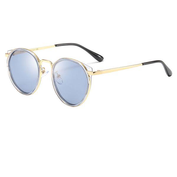 Top quality brand designer round metal sunglasses boy girl fashion glasses retro children sunglasses gold sunglasses free case and box