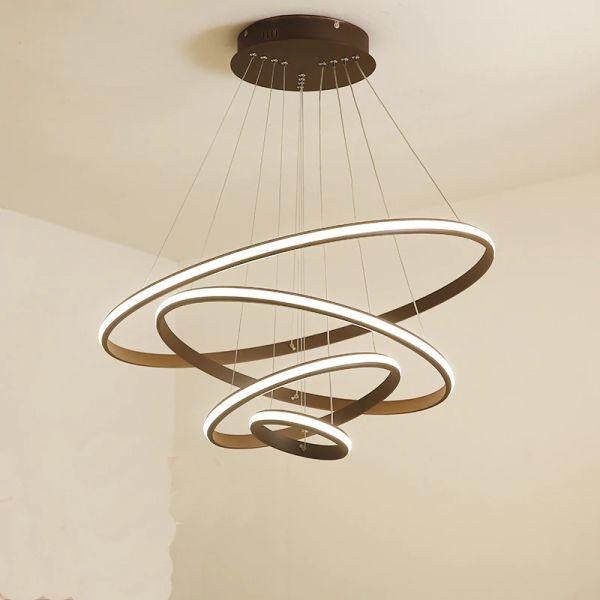 Moderne semplici lampade a sospensione a LED 4 anelli cerchio corpo in alluminio acrilico lampada a sospensione per apparecchi di illuminazione luminiare home office lustre