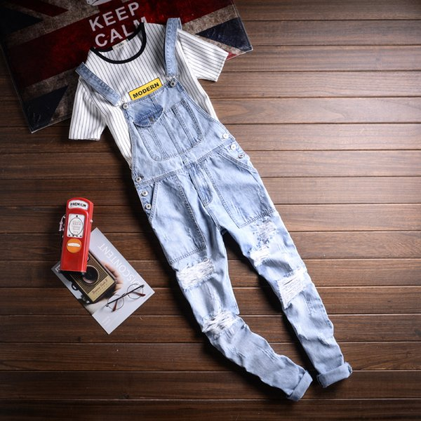 New Men's Plus Size 5XL Light Blue Ripped Denim Slim Fit Bib Overalls Casual Holes Distressed Jumpsuits Jeans Pants