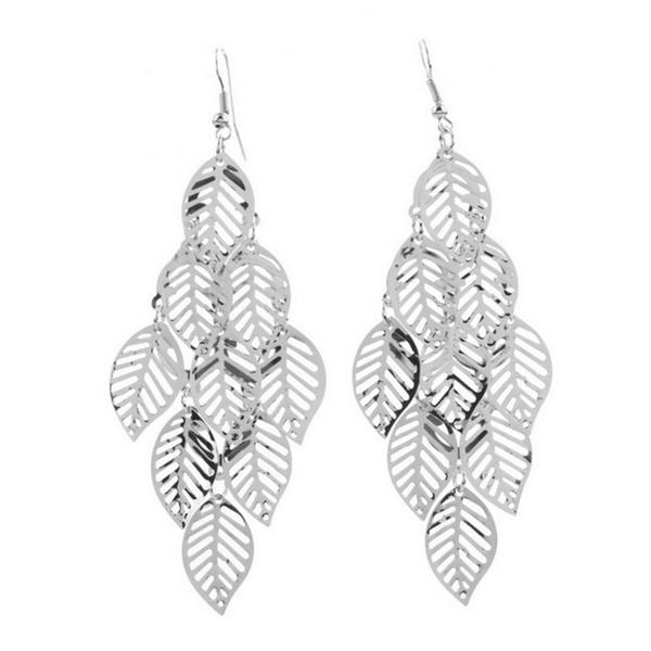 new Fashion Multi-Leaf Long Earings Earrings Ear Hook Drop Dangle Lady Girls wholesale sale Wedding Accessories Silver Color