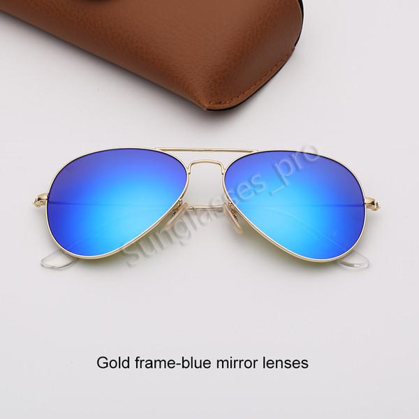 Altın çerçeve-mavi ayna lensleri