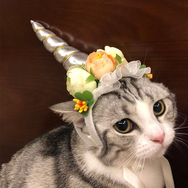 Cute Pet Unicorn Hat for Cats and Small Dogs Puppy Cat Costume Accessory for Halloween Christmas Cosplay Mane Cap