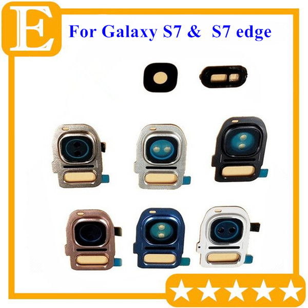 Back Rear Camera Lens Glass with Frame Holder Cover Flash Diffuser Pink Blue For Samsung Galaxy S7 S7 edge G930 G935 Universal 50Pcs