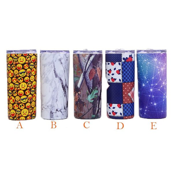 New 5 Colors 12oz Stainless Steel Tumbler Insulated Wine Tumblers Travel Mug Vacuum Water Bottles mugs with Straws