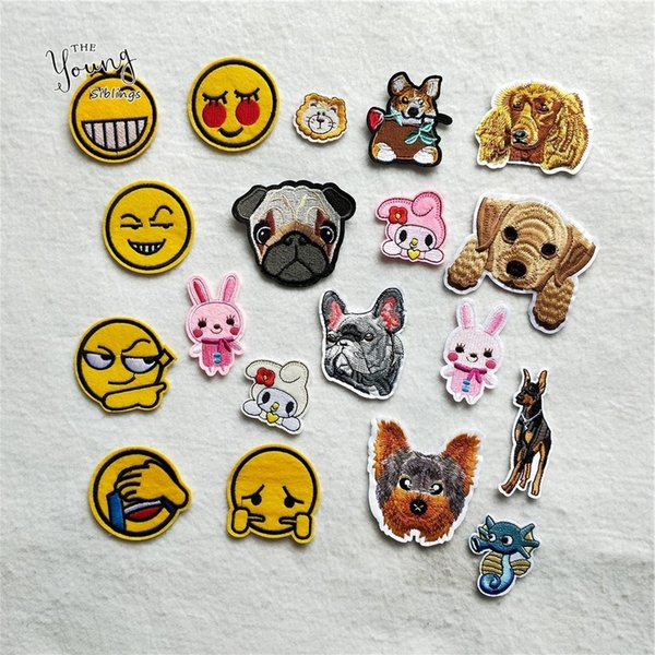 New arrive Cartoon Dog Rabbit Hot melt adhesive Patch 6 kinds emoticon for Jacket Clothes Badge Stickers DIY Apparel Accessories