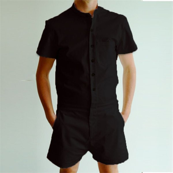 Mens Short Sleeve Jumpsuit Casual Cargo Shorts Rompers Overall