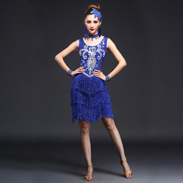 Stocktake vendas mulheres roupas de dança lantejoulas traje conjunto com mangas franja salsa vestidos de latina vestido de baile (só vestido)