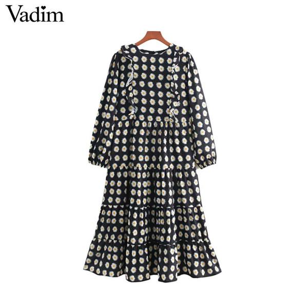 90657c3daed1d Vadim Women Chic Floral Midi Dress Back Zipper Ruffles Long Sleeve Female  Casual Mid Calf Dresses Vintage O Neck Vestidos Long Summer Dresses Silk ...
